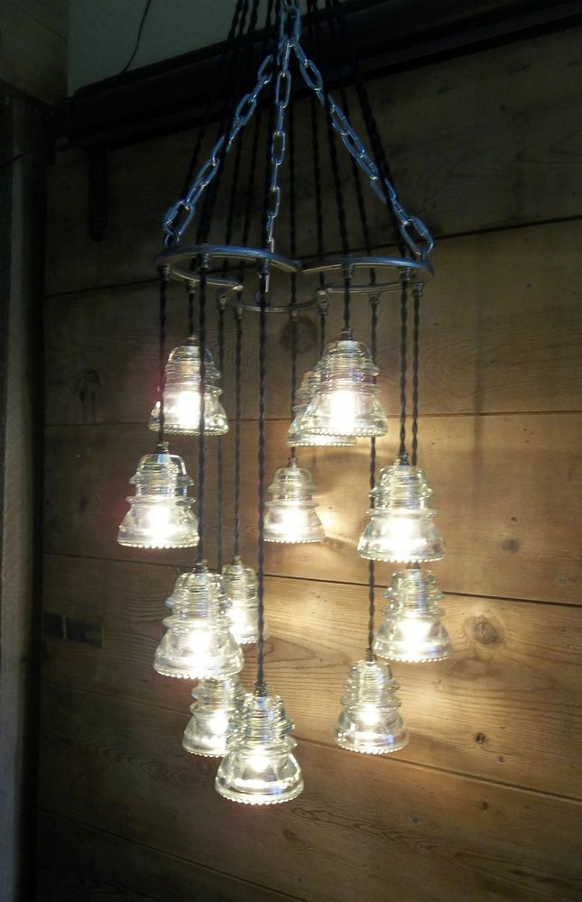 Details about horse shoe antique glass insulator pendant for Antique insulator pendant lights