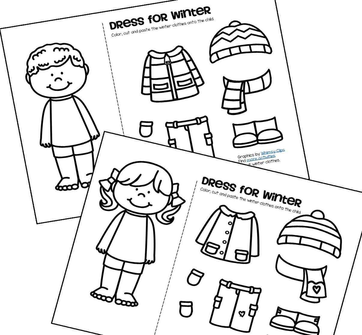 FREE Color cut and paste the winter clothes onto