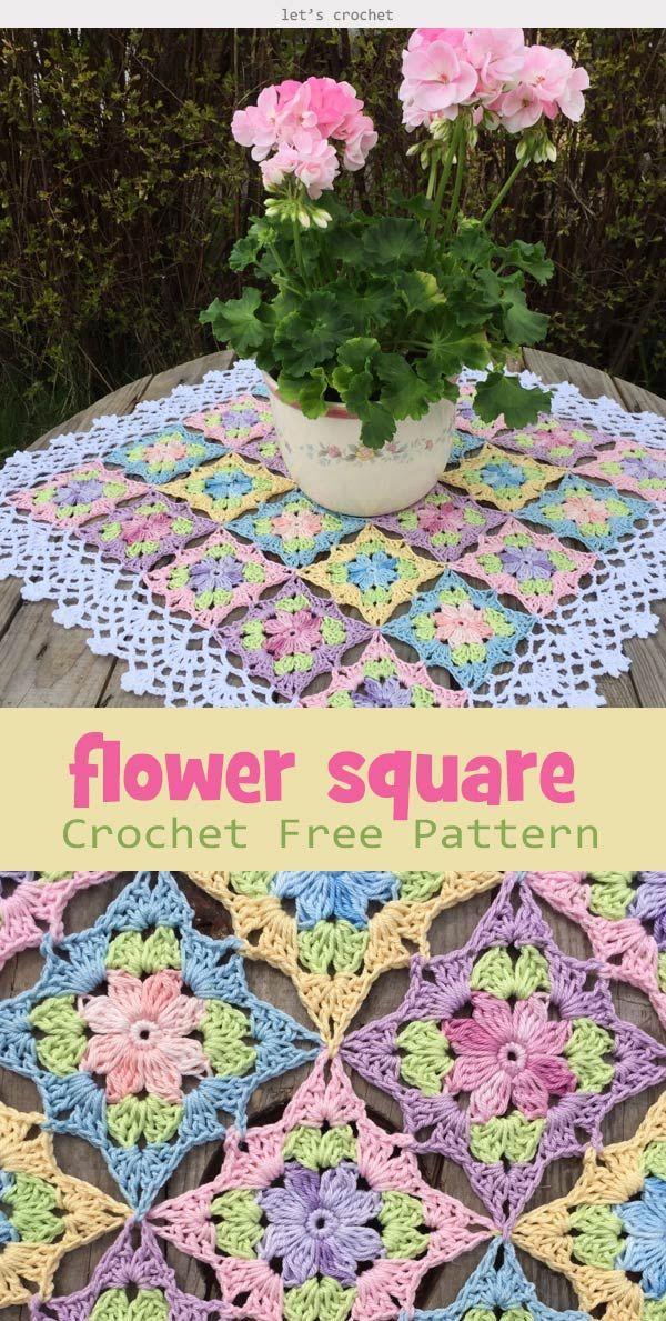 Little Wild Flower Square Crochet Free Pattern