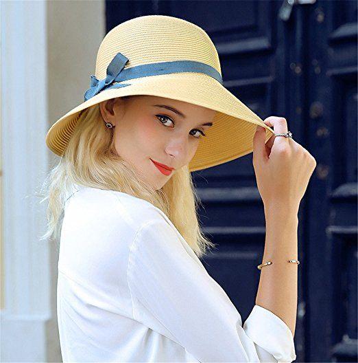 498be6dfa0e8a Sombreros panamá Sombrero Cloché Mujer Chica Señoras Playa Verano Paja  Sombrero para el sol