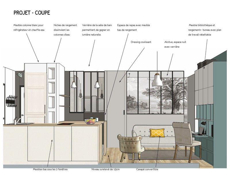 Le projet  Aux Batignolles, un studio parisien de 25m2 laissé dans - meuble bas cuisine avec plan de travail