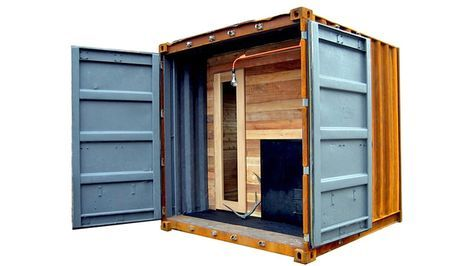 A Portable Shipping Container Sauna Is the Ultimate Stress
