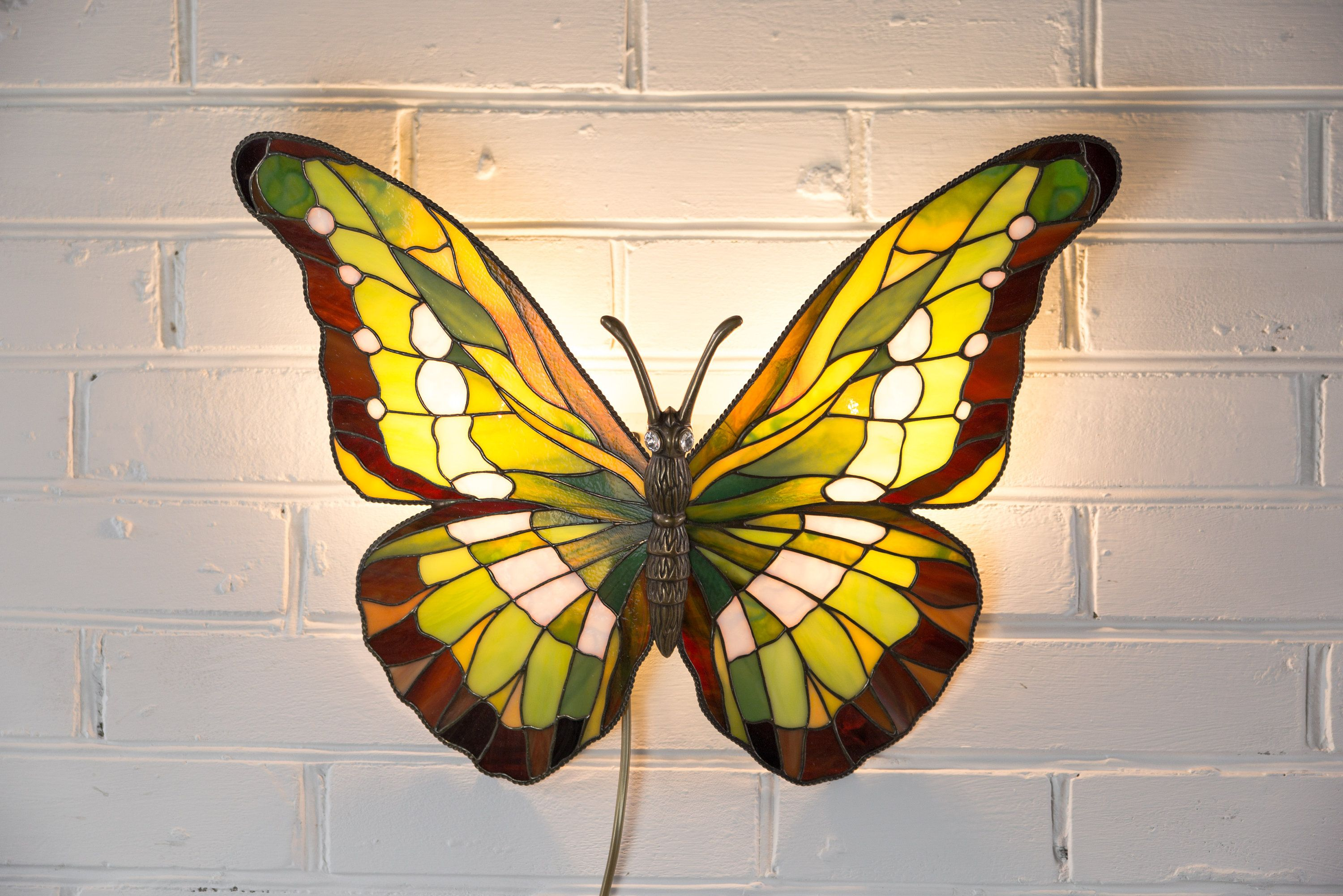 my #etsy shop: Stain Glass Butterfly Lamp / Light Decor for Wall ...