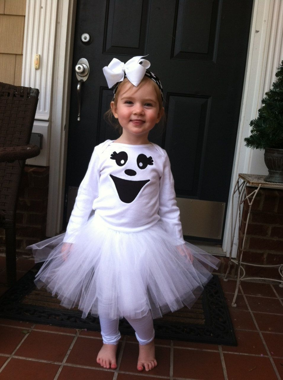 Girls Tutu Bodysuit Tights Outfit Halloween Too Cute to Spook Newborn 18 Months