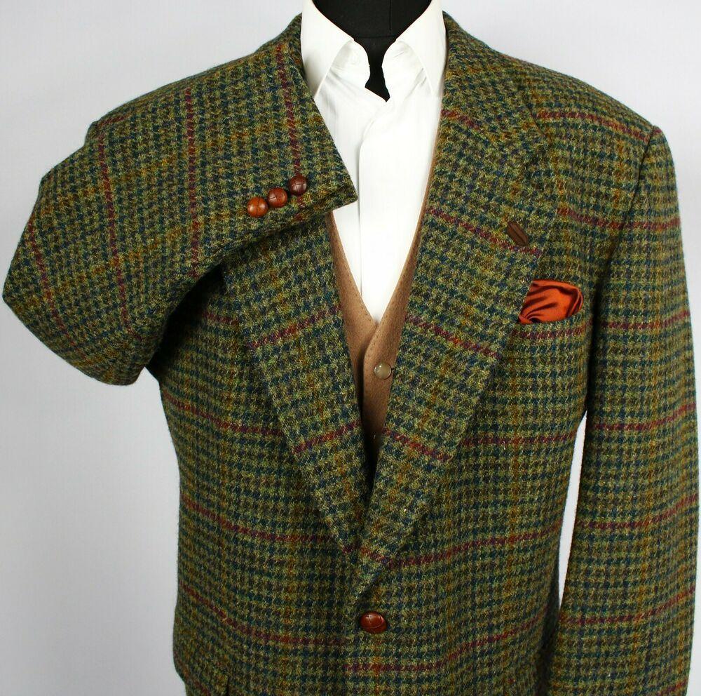 Harris tweed blazer jacket green wedding country races 50r