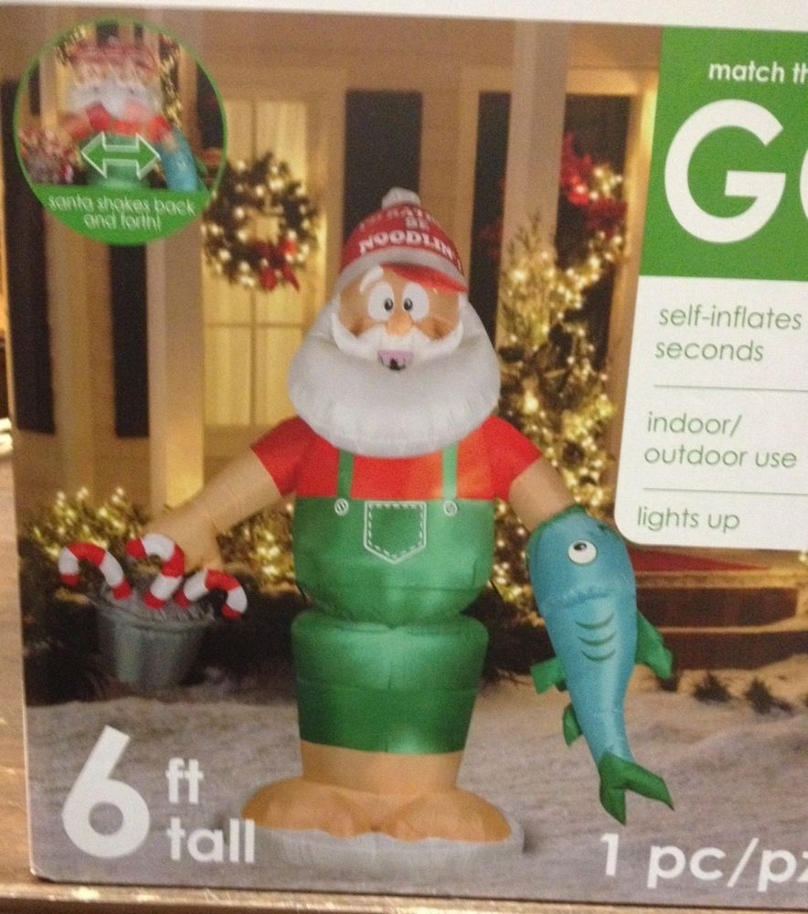 Gemmy inflatable airblown reindeer outdoor christmas decoration lowe - Airblown Inflatable Animated Gemmy Christmas Fishing Noodling Santa Catfish