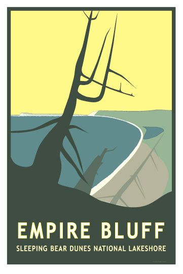 Glen Clark Vintage Style Travel Poster Empire Bluffs Bluff Sleeping Bear Dunes National Lakes