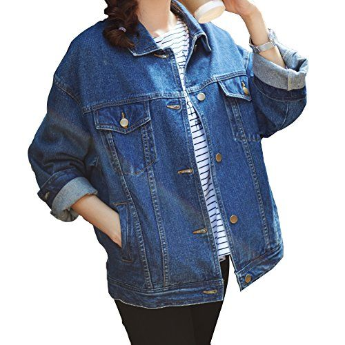 e322e58169b37 Loose Women Blue Washed Pocket Button Boyfriend Denim Jacket CoatLChest 44  Blue     Find out more about the great product at the image link.