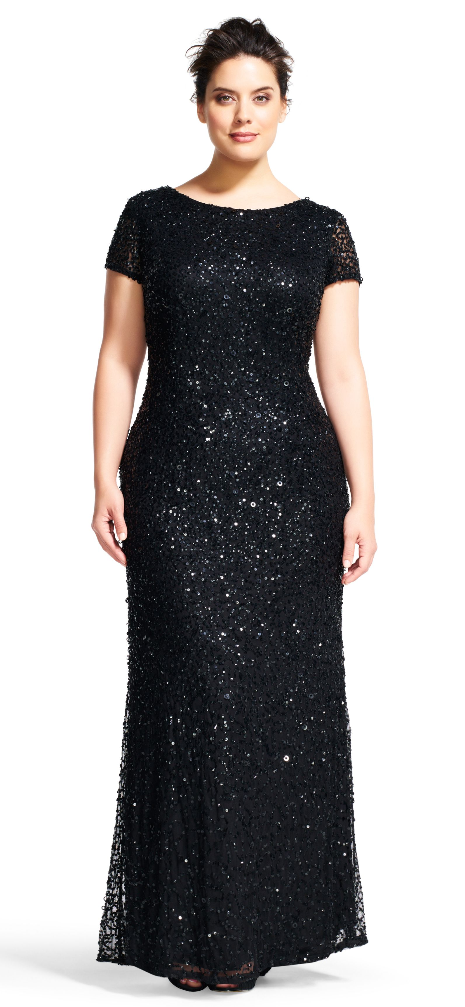 Scoop back sequin gown adrianna papell sequins and gowns