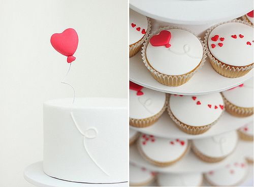 Heart Cake and Cupcakes