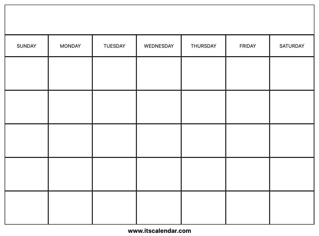 Printable Blank Calendar | Blank calender, Calender ...