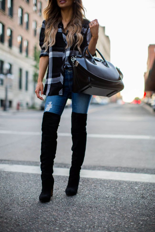 Rails Black Plaid Top, AG Jeans, Over-The-Knee Boots Thigh highs boots  outfit