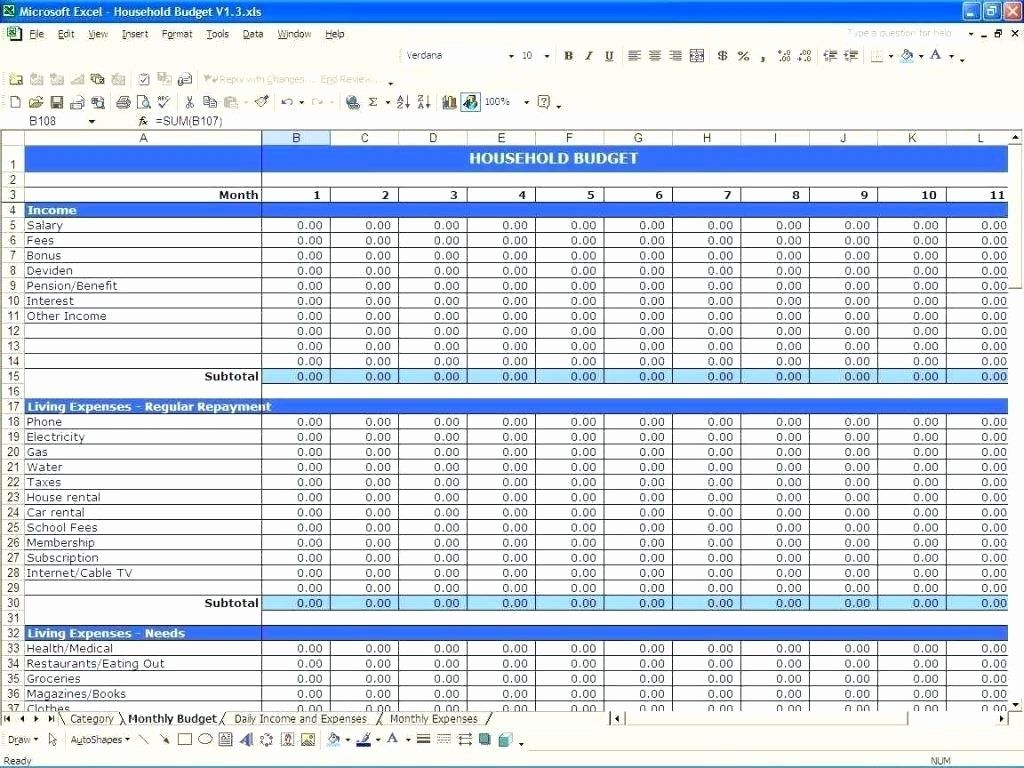 Excel Template To Track Expenses In