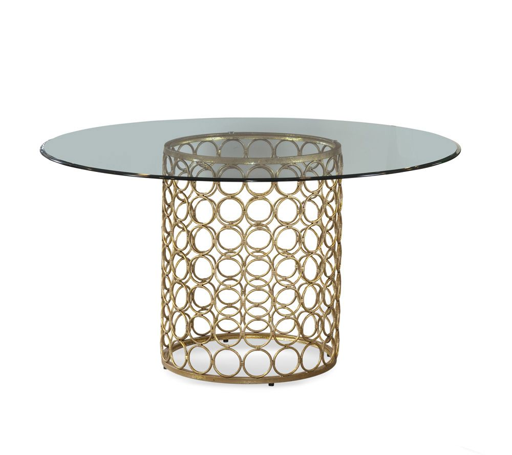 Bassett Carnaby 54 Inch Round Glass Top Dining Table Dining