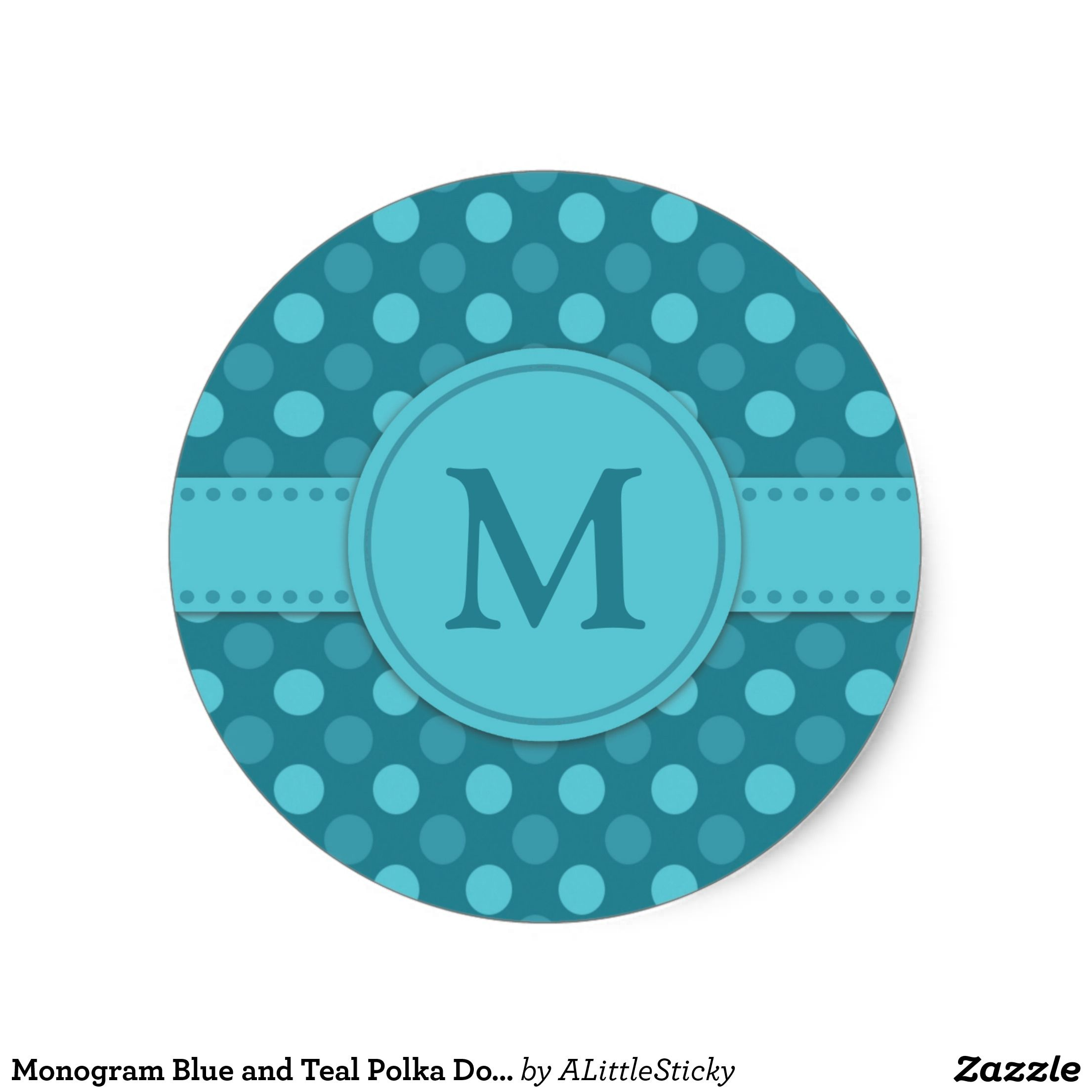 Monogram blue and teal polka dots classic round sticker zazzle