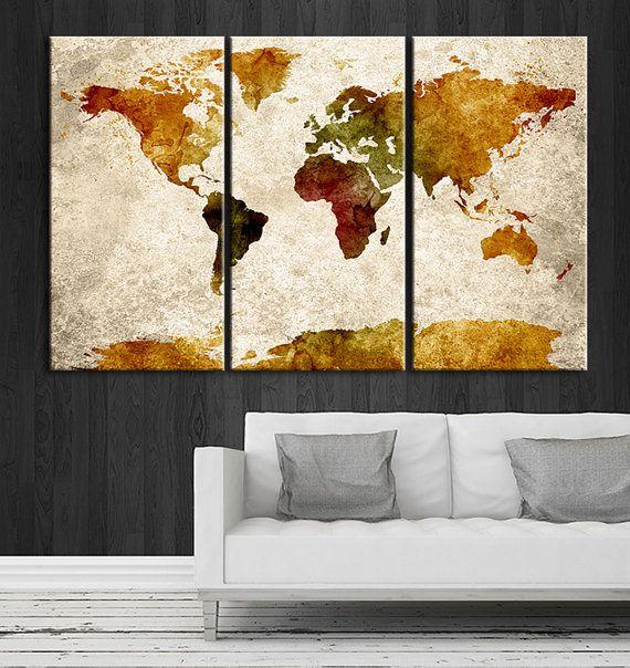 Canvas Art Set Extra Wall Art Canvas World Map Print