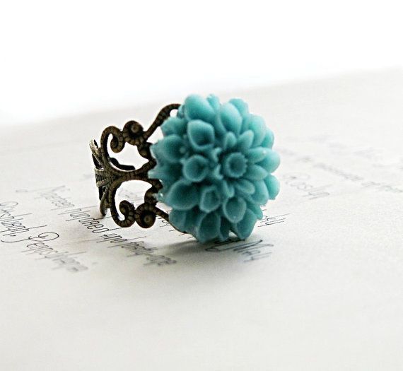Turquoise Flower Ring Blue Flower Ring Dahlia Flower Ring Vintage Style Jewelry Cocktail Ring Bridesmaid Gift Under 25 Blue Rings Turquoise Flowers Flower Ring