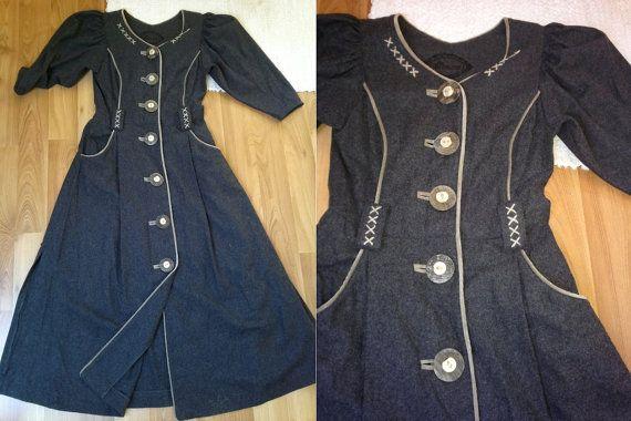 German loden womens grey wool trachten by ElegantSilhouettes