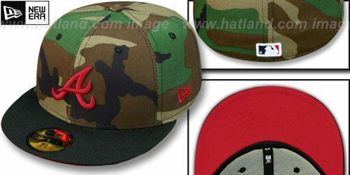 3705edf89cb Braves  2T CAMO  Army-Black Fitted Hat by New Era on hatland.com ...