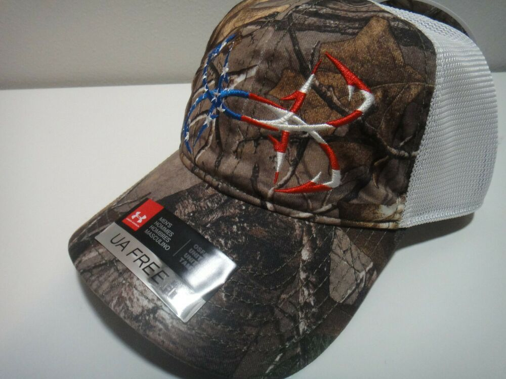 afea6754d60 Under Armour Realtree Mens Fish Hooks Heatgear Free Fit Camo Snap Back Hat   Underarmour