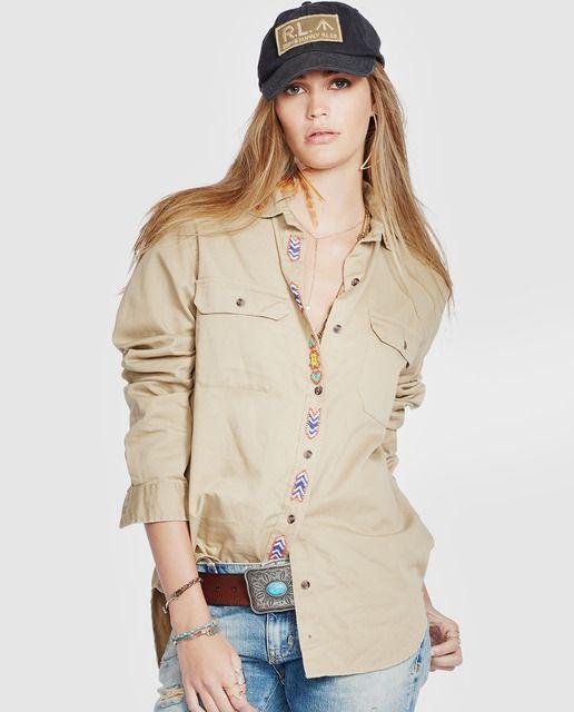 Camisa de mujer Denim & Supply Ralph Lauren camel con abalorios