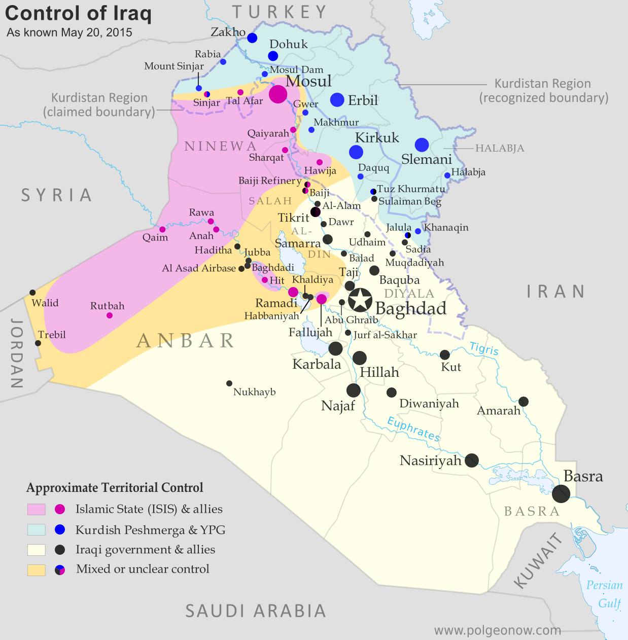 Detailed map of territorial control in Iraq as of May 20 2015