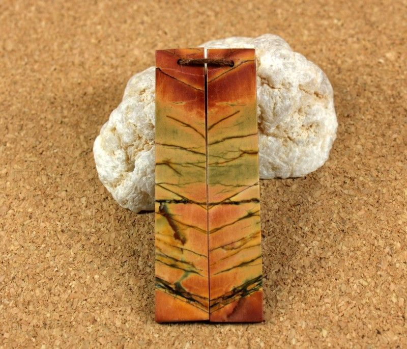 Red Creek Jasper Long Rectangle Earring Pair - Orange Green and Yellow Smooth Front Drilled Matched Pair