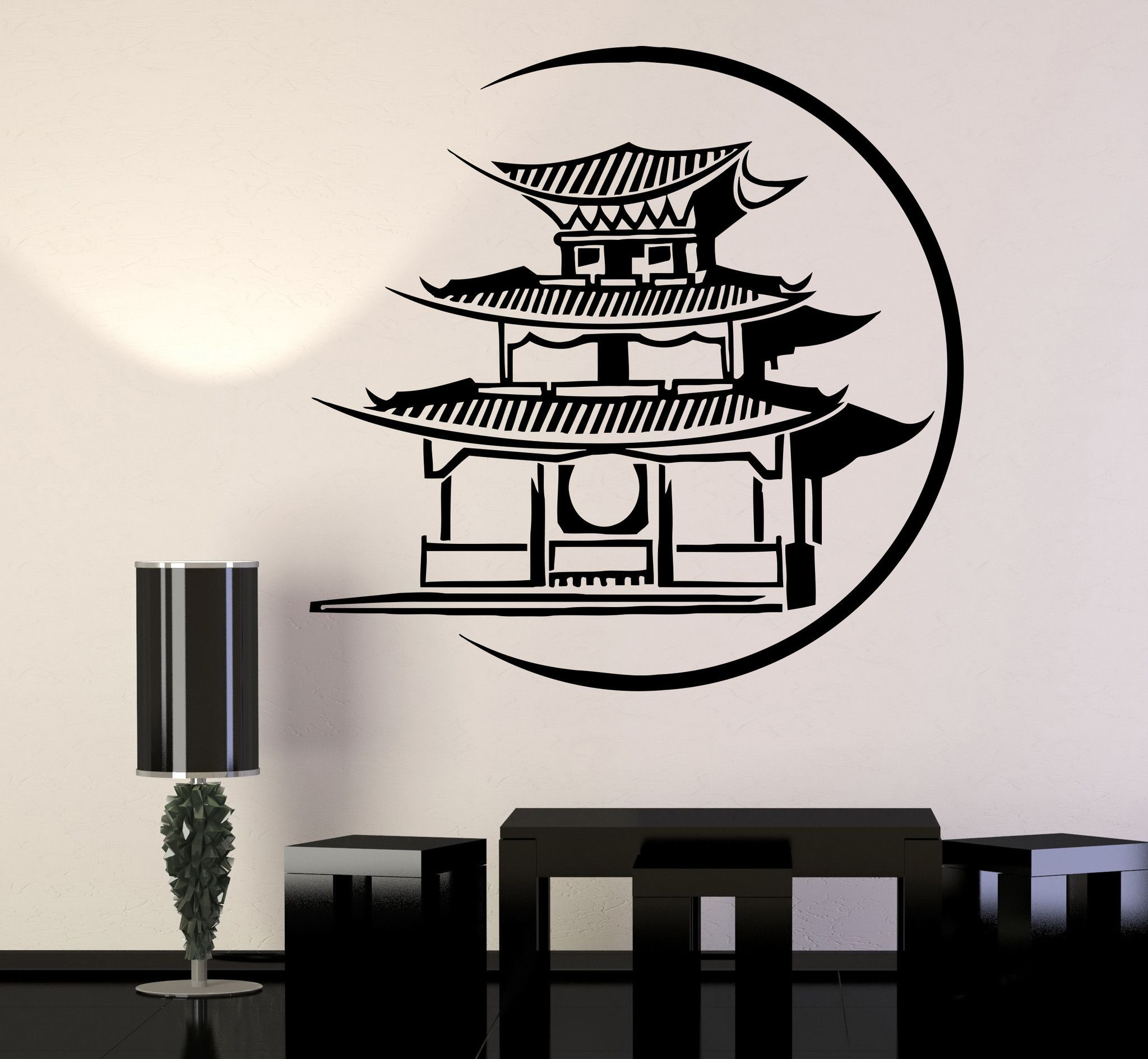 Vinyl Wall Decal Japanese Pagoda Japan Asian Art Oriental Stickers - Vinyl wall decals asian
