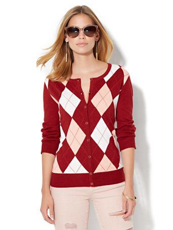 2b4a0f9e9 Shop 7th Avenue Design Studio - Crewneck Chelsea Cardigan - Argyle . Find  your perfect size online at the best price at New York   Company.