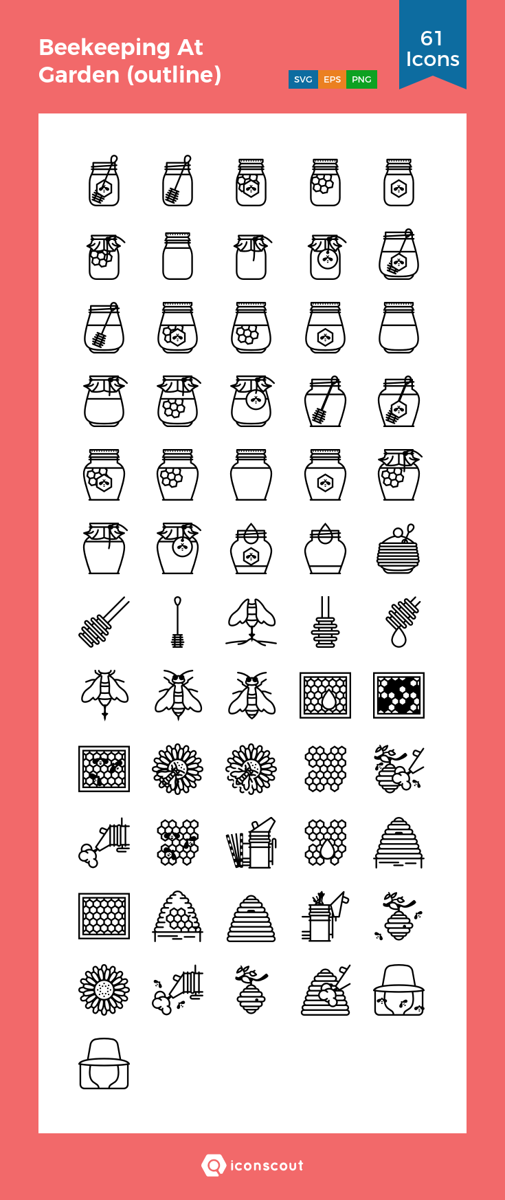 Download Beekeeping At Garden Outline Icon Pack Available In Svg Png Eps Ai Icon Fonts Bee Icon Icon Pack Icon