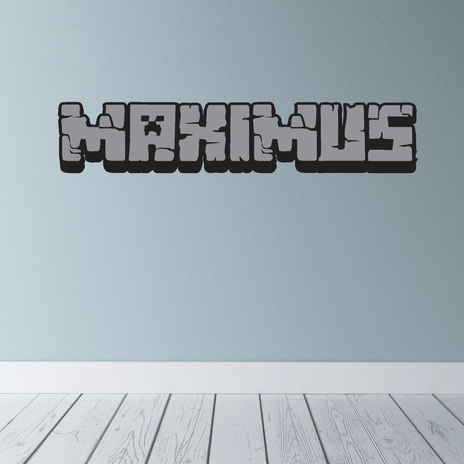 Custom Kids Name In Minecraft Style Lettering Die Cut Vinyl Wall - Custom cut vinyl wall decals