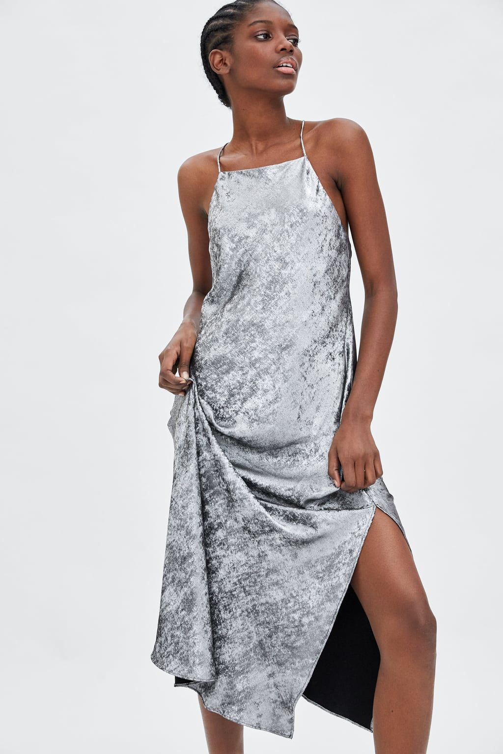 77620bdb Long metallic dress | Zara | Dresses, Fashion, Zara