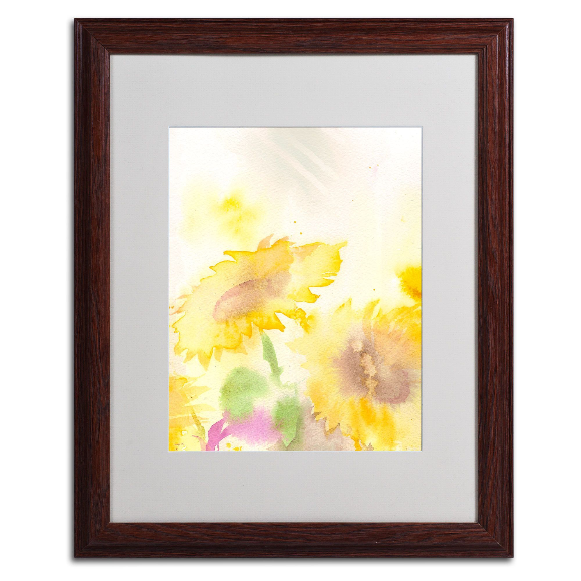 Wind Sunflowers by Sheila Golden Matted Framed Painting Print ...