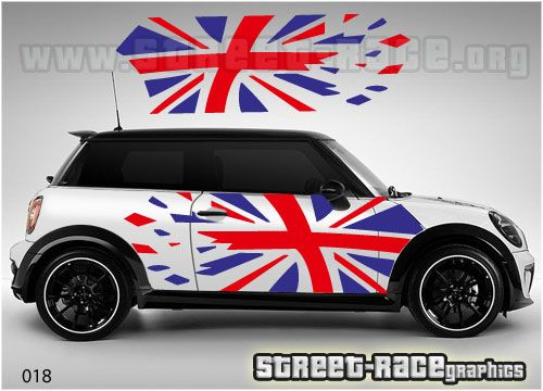 mini side ripped union jack 018 red blue street race. Black Bedroom Furniture Sets. Home Design Ideas