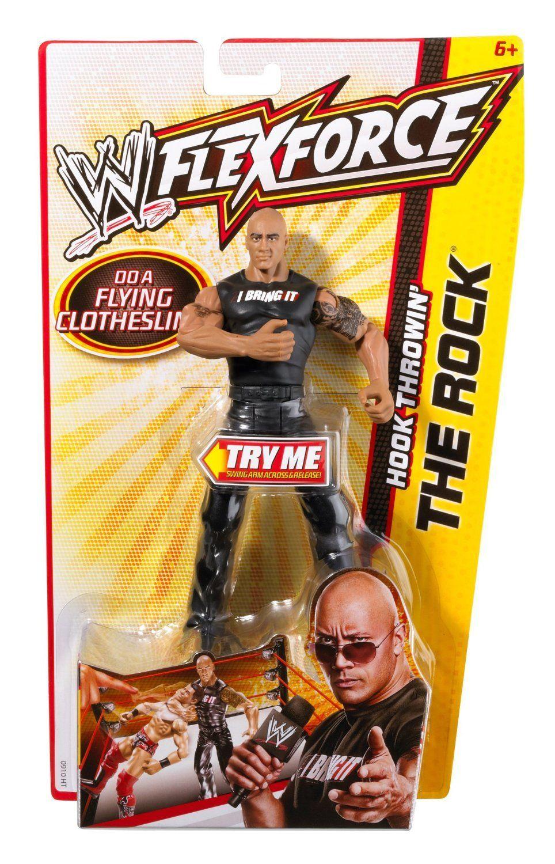 The Rock Dwayne Johnson WWE Flexforce Hook Throwin\' Action Figure ...