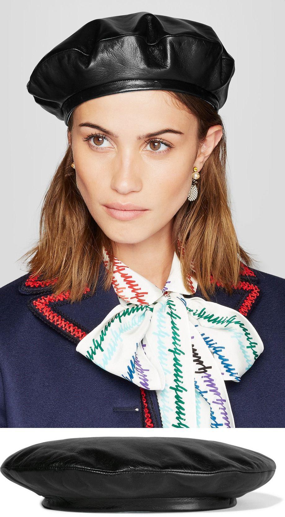 GUCCI Leather beret $490 | Шитье головных уборов/Sewing Hats | Pinterest