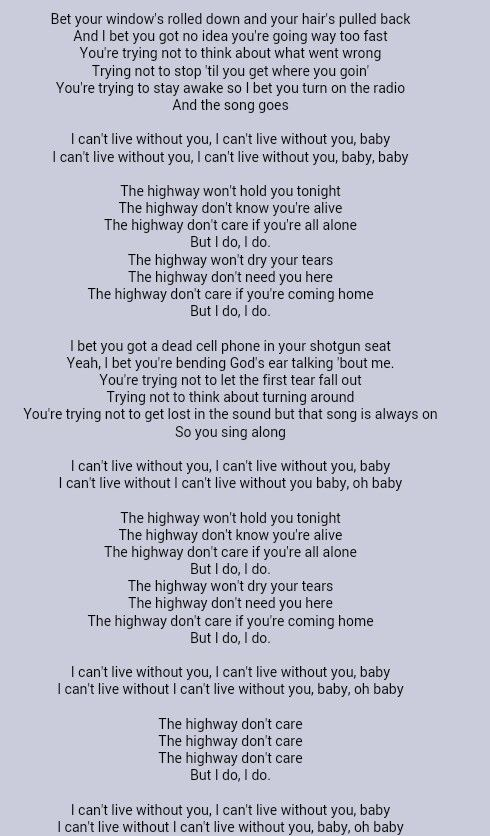 Tim Mcgraw Highway Don T Care Country Song Lyrics Music