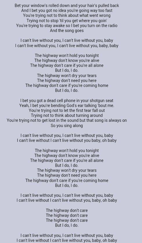 Tim Mcgraw Highway Don T Care Great Song Lyrics Music Quotes Lyrics Country Song Lyrics