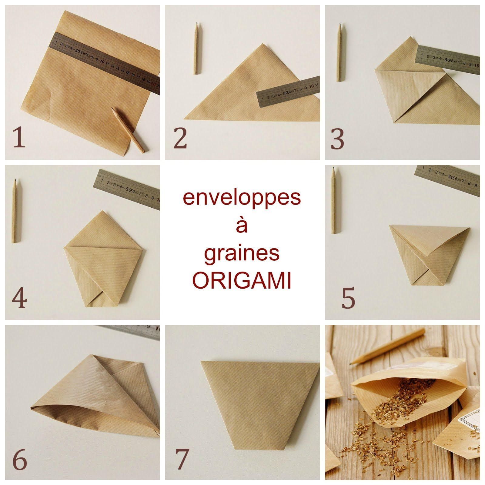 enveloppes a graines en origami origami pinterest sachet origami et potager. Black Bedroom Furniture Sets. Home Design Ideas