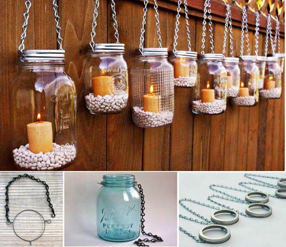 Diy Mason Jar Candles Diy Craft Crafts Easy Crafts Diy Ideas Diy Crafts Crafty Diy Decor Craft Decorations Ho Mason Jar Diy Mason Jar Garden Mason Jar Lanterns