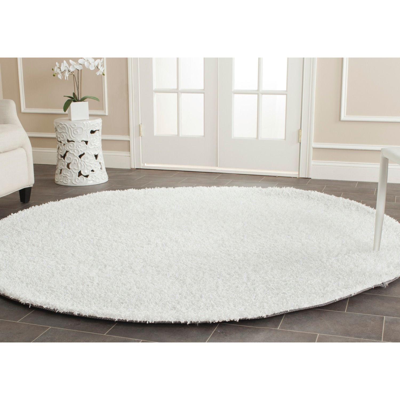 Safavieh handmade monterey shag white polyester rug u round