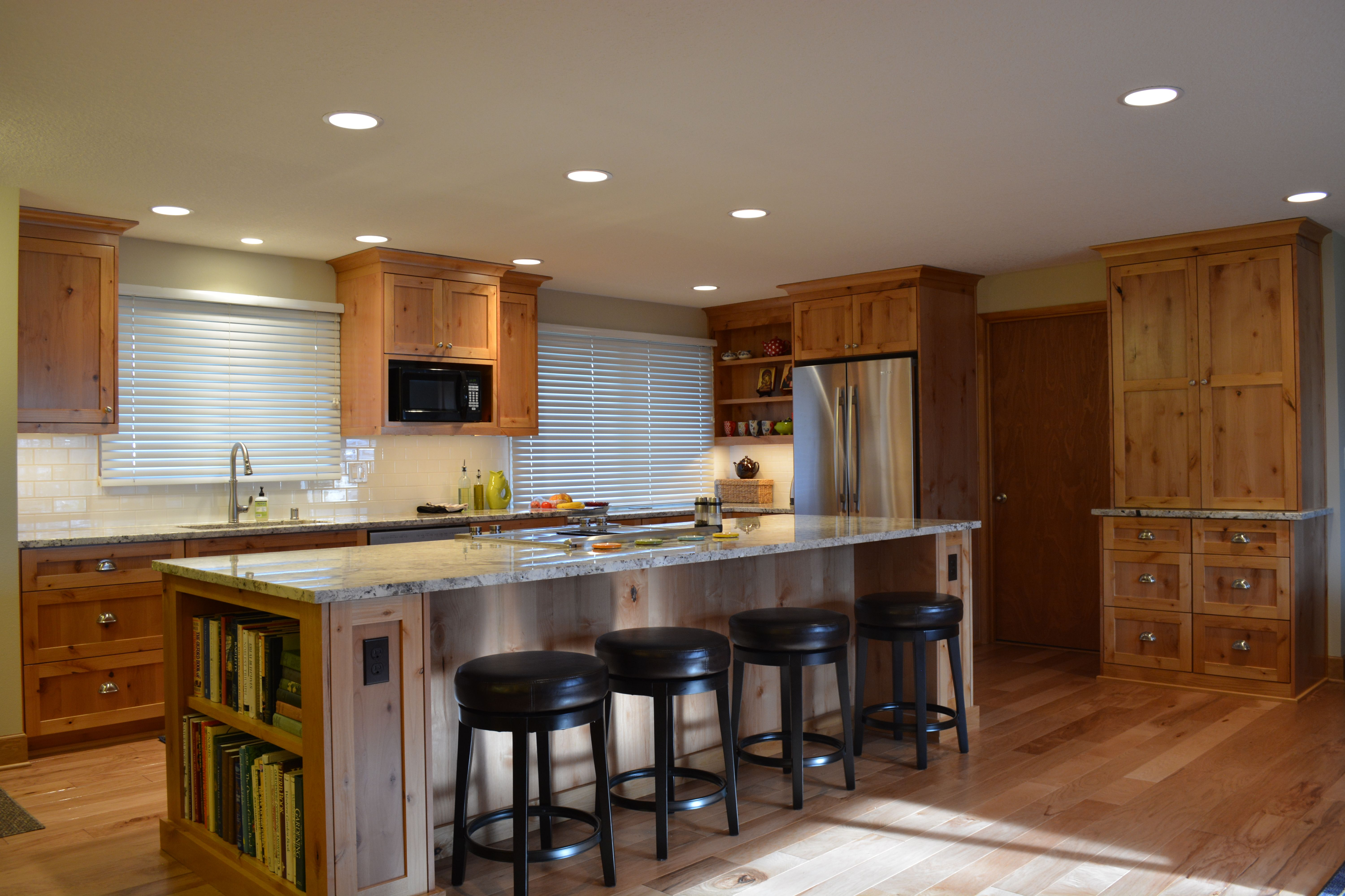 Knotty Alder Cabinets with a clear finish, Granite countertop