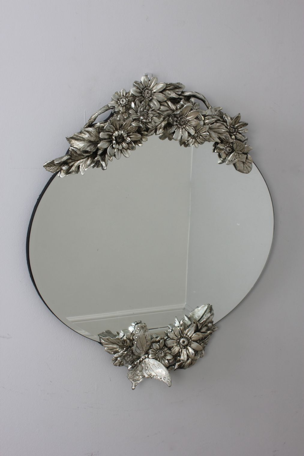 Silver Vintage Style Oval Frameless Wall Mirror With