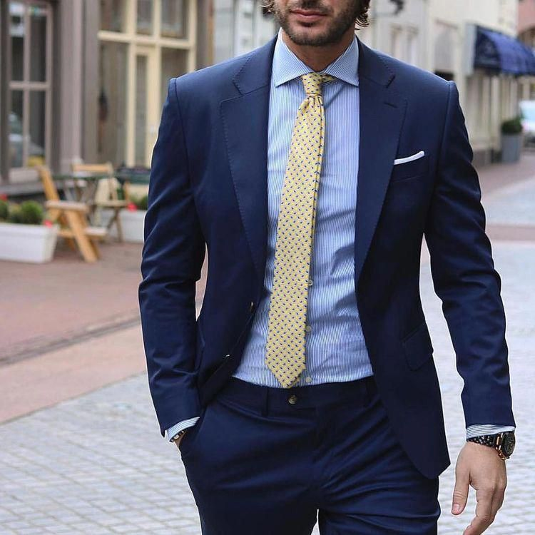 Color Combinations | Navy suit with blue dress shirt and