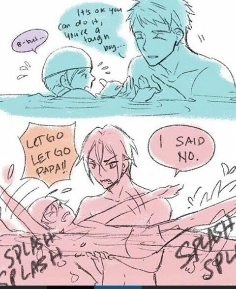Swim teachers. I think this would actually be reversed,  Rin has his cute side too ! Sousuke