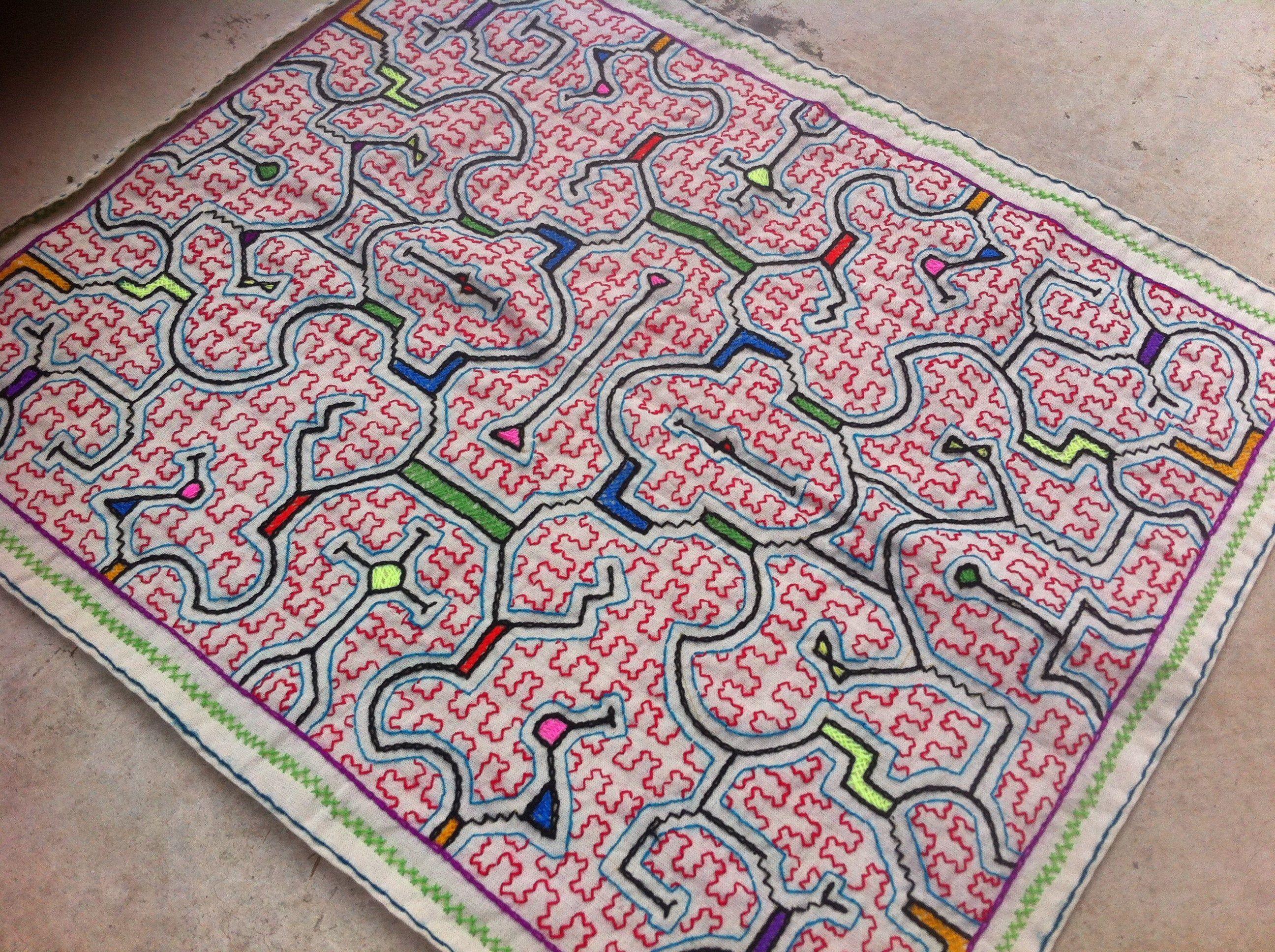 Shipbo Pinon Songs  Shipibo tapestry made by a Shipiba Tribswoman in the Jungle Chaman Shipibo Art Shamanism