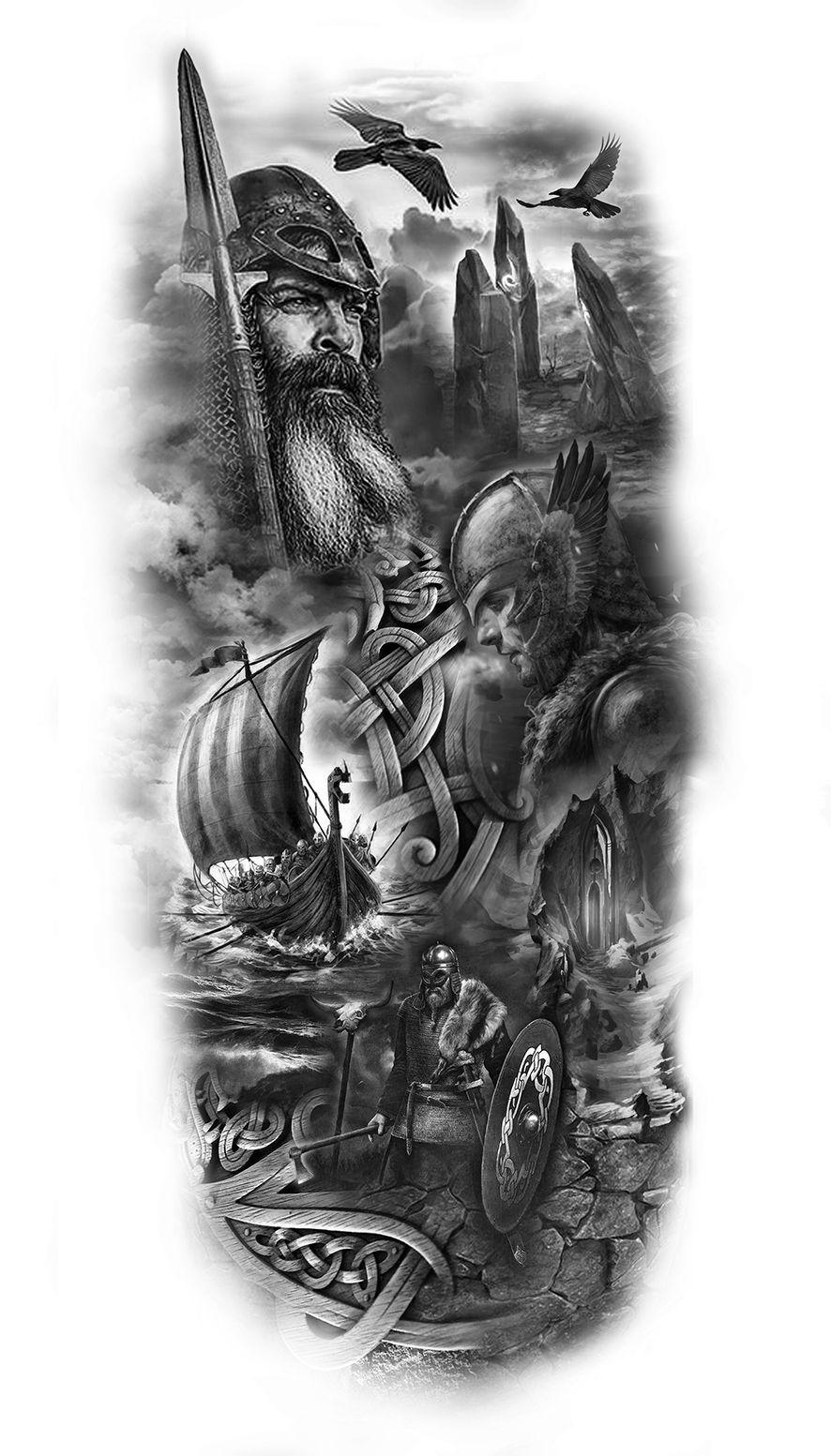 viking sleeve design Viking warrior tattoos, Warrior