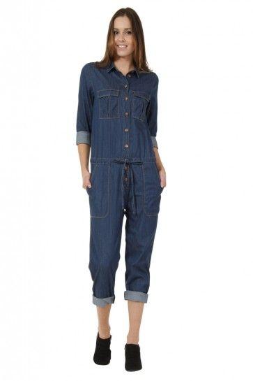 7fd6ad0cc5f2 Farrah - Ladies  Lightweight Denim Blue Long Sleeve Button-front  Boilersuit.  jumpsuit  allinone