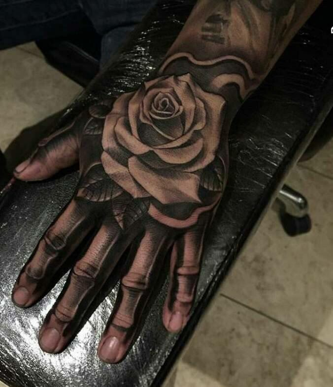 Rose On Skeleton Hand Hand Tattoos Rose Tattoos For Men Rose Hand Tattoo