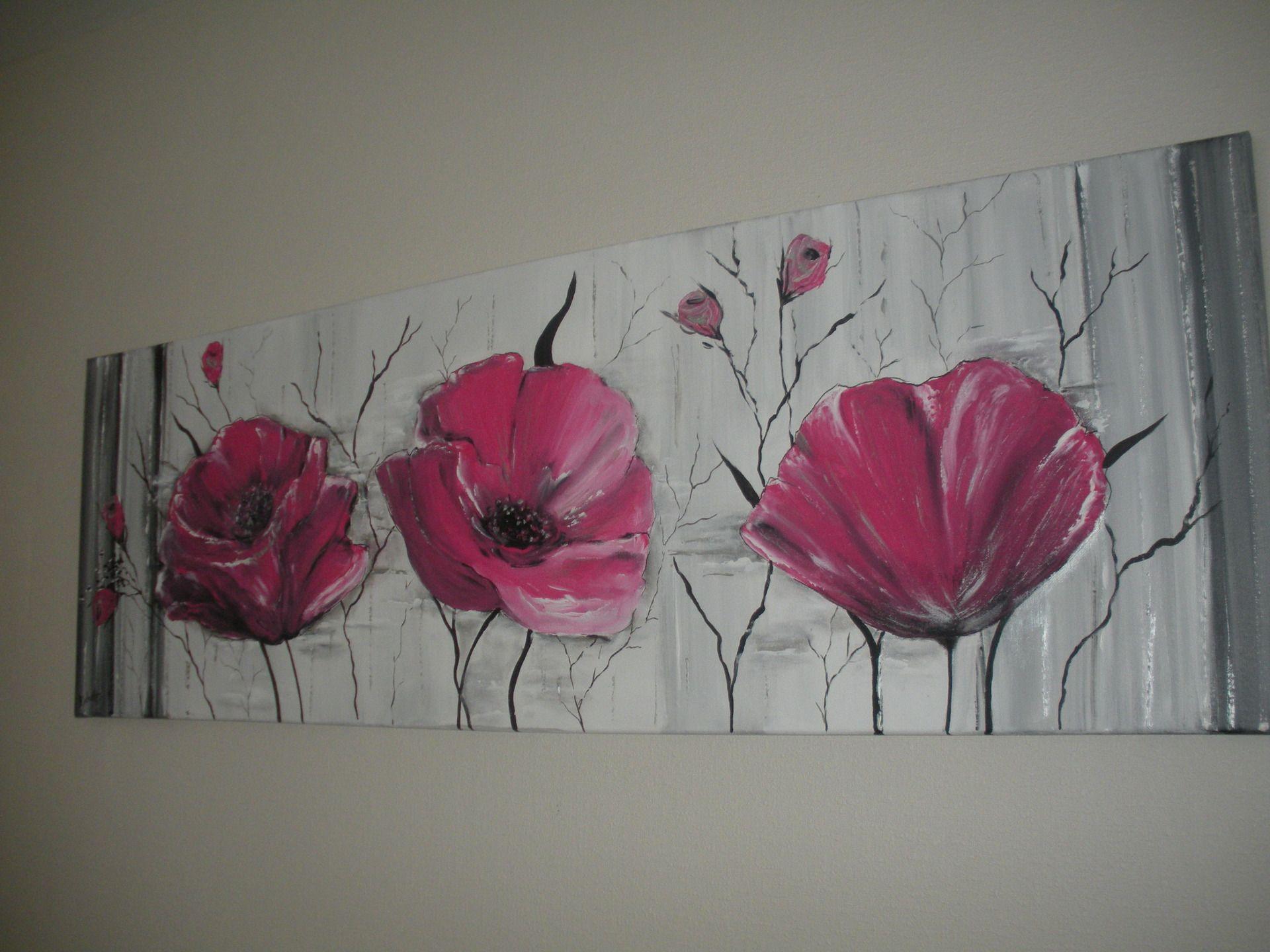 Tableau contemporain rose fushia noir et gris et alu for Tableau peinture contemporain